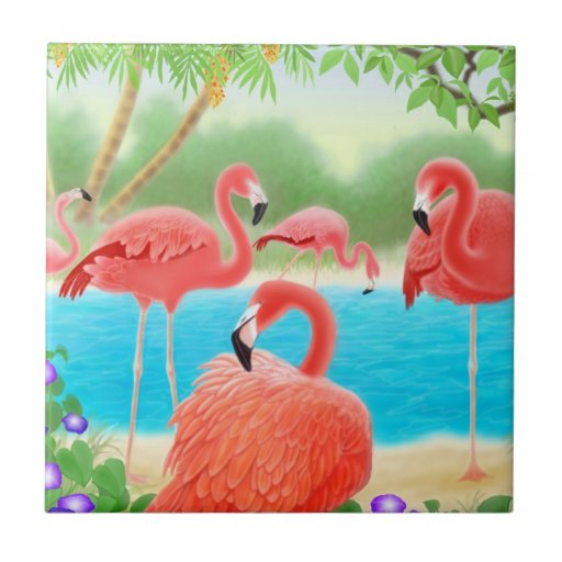 Tropical Pink Flamingo Birds Tile