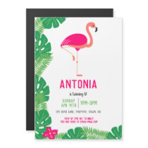 Tropical Pink Flamingo Birthday Party Magnetic Invitation