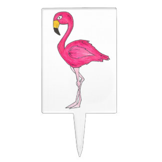 Tropical Pink Flamingo Flamingos Bird Cake Pick