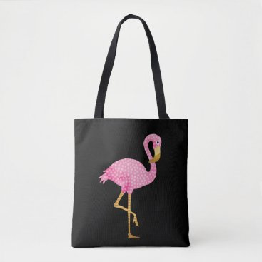 Beach Themed Tropical Pink Flamingo in Polka Dots Tote Bag
