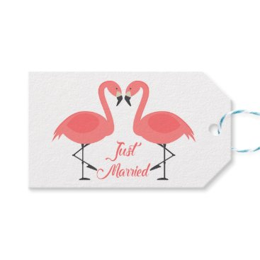 Beach Themed Tropical Pink Flamingo Just Married Wedding Beach Gift Tags