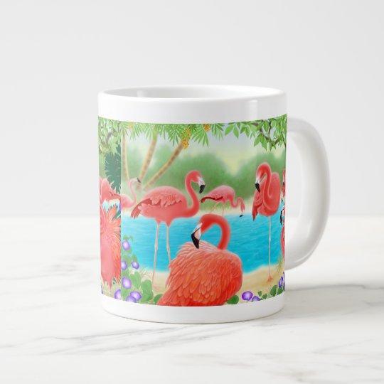 Tropical Pink Flamingo Lagoon Jumbo Mug