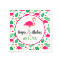 Tropical Pink Flamingo Personalized Birthday Napkins