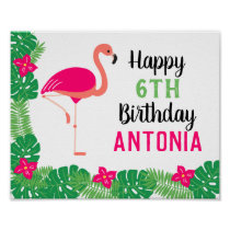 Tropical Pink Flamingo Personalized Birthday Party Poster