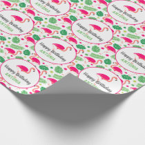 Tropical Pink Flamingo Personalized Birthday Wrapping Paper