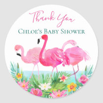 Tropical Pink Flamingo Personalized Classic Round Sticker