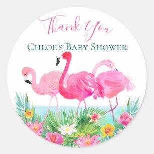 Tropical Pink Flamingo Personalized Clic Round Sticker