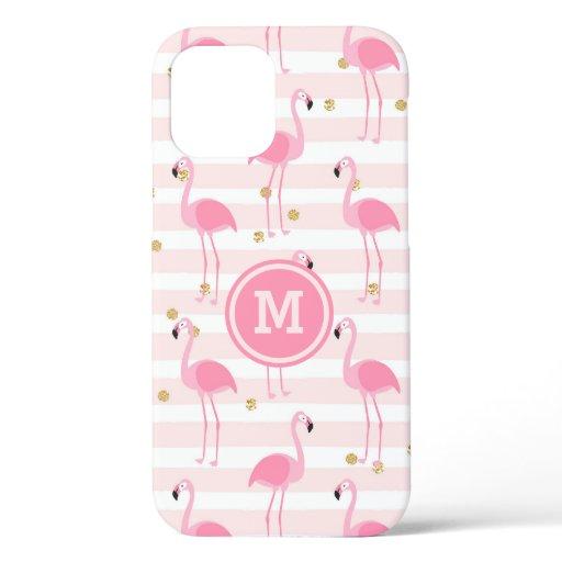 Tropical Pink Flamingo Stripe Pattern Monogram iPhone 12 Case