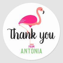 Tropical Pink Flamingo Thank You Personalized Classic Round Sticker