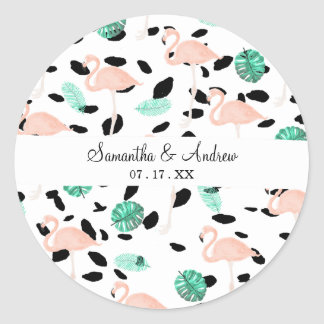 Tropical pink flamingo watercolor leaf polka dots classic round sticker
