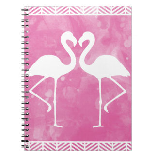 Tropical Pink Flamingo Watercolor Silhouette Notebook