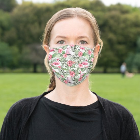 Tropical Pink Flamingos, Birds, and Flowers Adult Cloth Face Mask