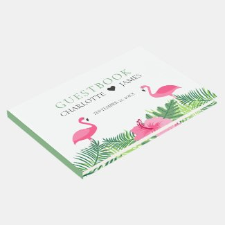 Tropical Pink Flamingos Colorful Flowers Wedding Guest Book