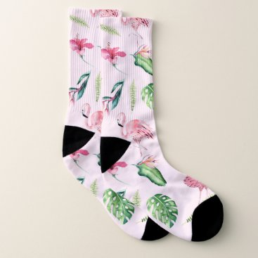 Beach Themed Tropical Pink Flamingos & Flowers Floral Chic Socks