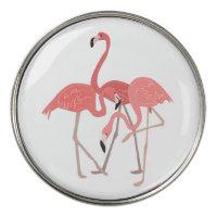 Tropical Pink Flamingos Lady Golfer Golf Ball Marker