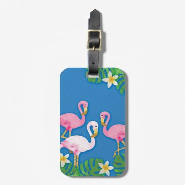 Beach Themed Tropical Pink Flamingos on Blue Bag Tag