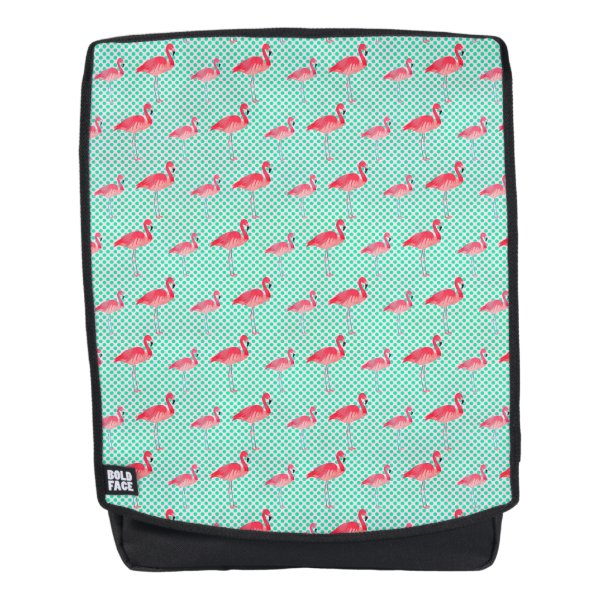 Tropical Pink Flamingos with Mint Polka Dots Backpack