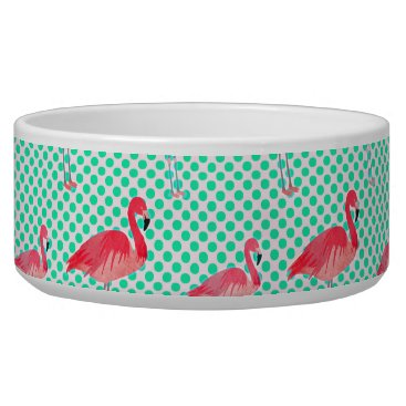 Beach Themed Tropical Pink Flamingos with Mint Polka Dots Bowl