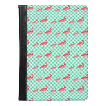 Beach Themed Tropical Pink Flamingos with Mint Polka Dots iPad Air Case