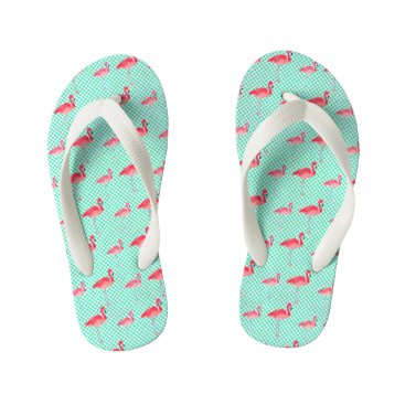 Beach Themed Tropical Pink Flamingos with Mint Polka Dots Kid's Flip Flops