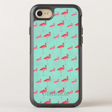 Beach Themed Tropical Pink Flamingos with Mint Polka Dots OtterBox Symmetry iPhone 8/7 Case