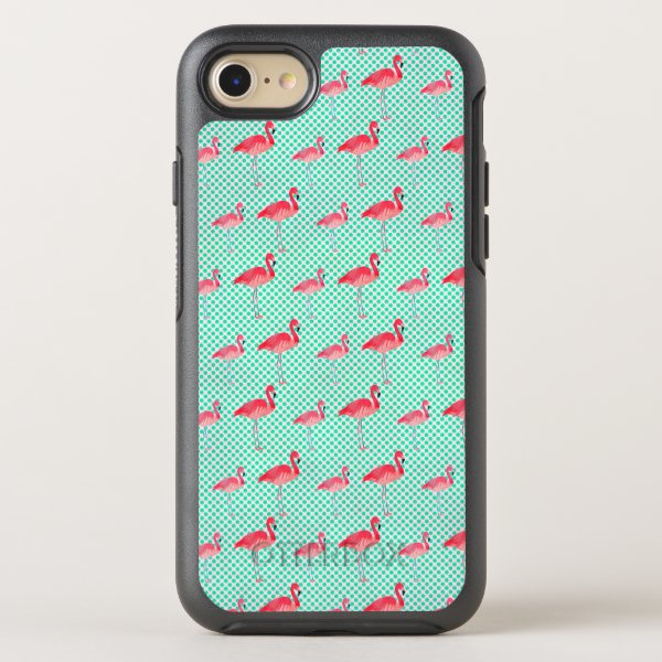 Tropical Pink Flamingos with Mint Polka Dots OtterBox Symmetry iPhone 8/7 Case