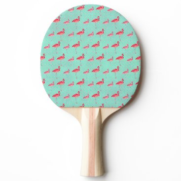 Beach Themed Tropical Pink Flamingos with Mint Polka Dots Ping Pong Paddle