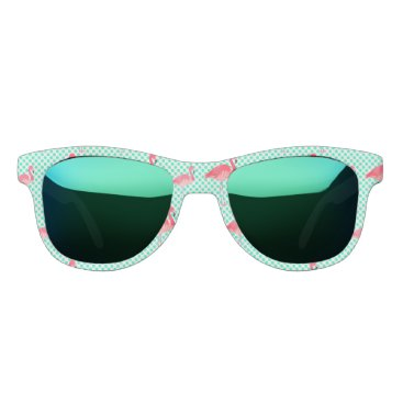 Beach Themed Tropical Pink Flamingos with Mint Polka Dots Sunglasses