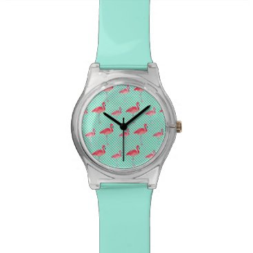 Beach Themed Tropical Pink Flamingos with Mint Polka Dots Wrist Watch