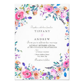 Tropical Pink Floral Watercolor Wedding Invite