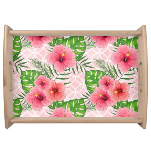 Tropical Pink Flowers Serving Tray
