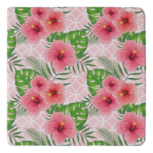 Tropical Pink Flowers Trivet