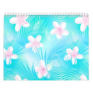 Tropical pink frangipani calendar