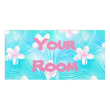 adamfahey Tropical pink frangipani door sign