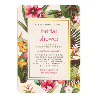 Tropical Pink Gold and Green Bridal Shower Card