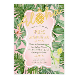 Tropical Pink Gold BACHELORETTE Invite Pineapple
