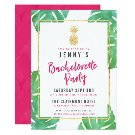 Tropical Pink & Gold Pineapple Bachelorette Party Invitation