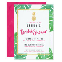 Tropical Pink & Gold Pineapple Bridal Shower Card