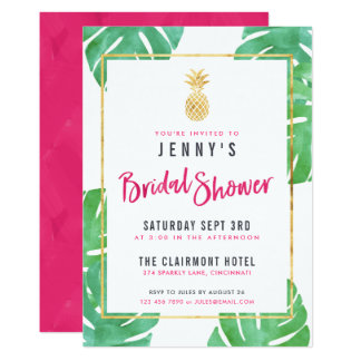 tropical pink u0026 gold pineapple bridal shower card