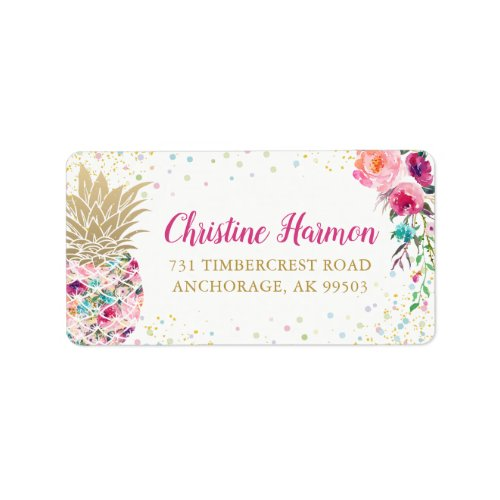 Tropical Pink Gold Pineapple Floral Glitter Label