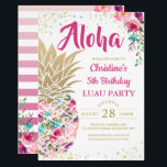 """Tropical Pink Gold Pineapple Floral Luau Birthday Invitation<br><div class=""""desc"""">Tropical Pink Gold Pineapple Floral Luau Birthday</div>"""