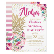 Tropical Pink Gold Pineapple Floral Luau Birthday Invitation