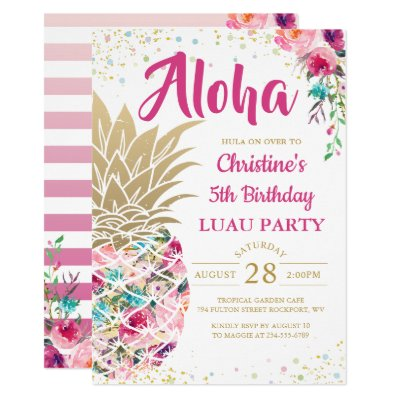 Tropical Luau Birthday Invitation Zazzle Com