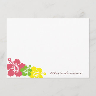 Tropical pink hibiscus flowers custom stationery note card