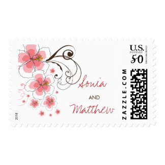 Tropical Pink Hibiscus Summer Beach Wedding Stamps