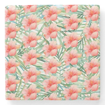 Beach Themed Tropical Pink Hibiscus Watercolor Floral Stone Coaster