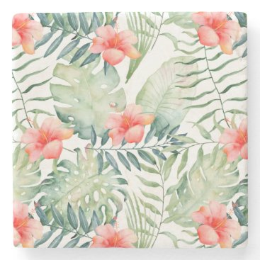 Beach Themed Tropical Pink Hibiscus Watercolor Flowers Stone Coaster