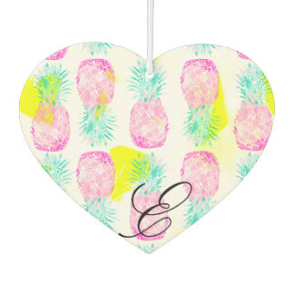 Tropical pink mint green yellow pineapples pattern air freshener