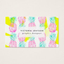 Tropical pink mint green yellow pineapples pattern business card
