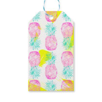 Tropical pink mint green yellow pineapples pattern gift tags
